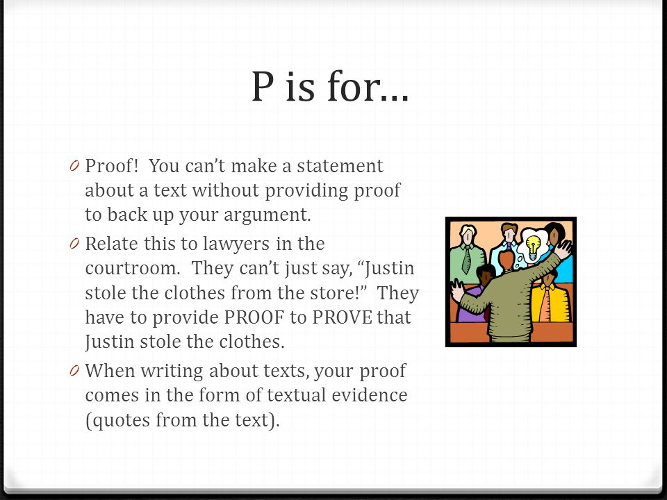 P is for… 0 Proof.