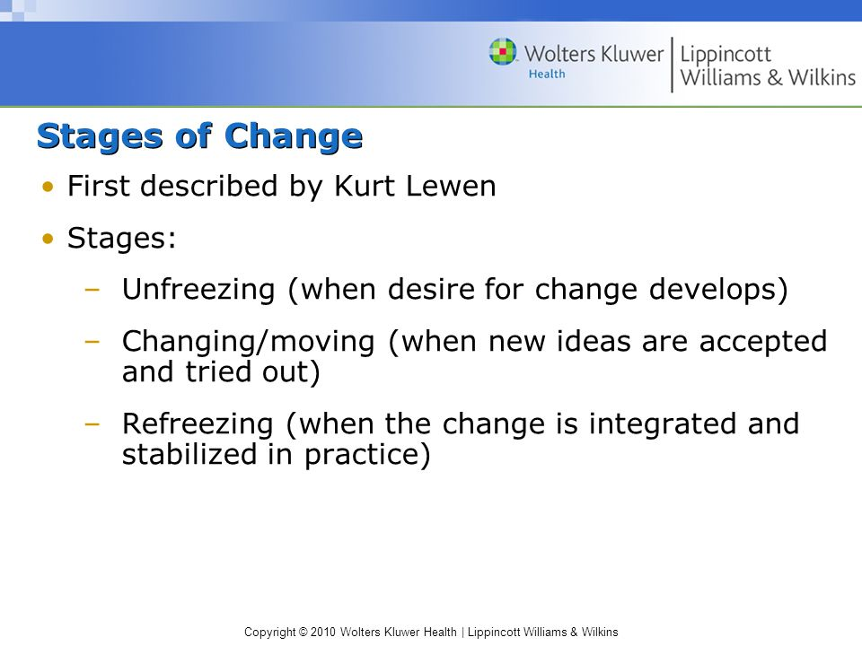 Copyright © 2010 Wolters Kluwer Health | Lippincott Williams & Wilkins Stages of Change First described by Kurt Lewen Stages: –Unfreezing (when desire for change develops) –Changing/moving (when new ideas are accepted and tried out) –Refreezing (when the change is integrated and stabilized in practice)