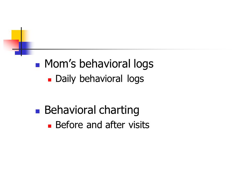 Mom's behavioral logs Daily behavioral logs Behavioral charting Before and after visits