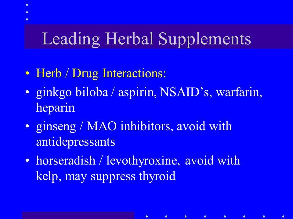 Leading Herbal Supplements Herb / Drug Interactions: ginkgo biloba / aspirin, NSAID's, warfarin, heparin ginseng / MAO inhibitors, avoid with antidepr