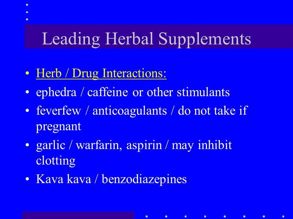 Leading Herbal Supplements Herb / Drug Interactions: ephedra / caffeine or other stimulants feverfew / anticoagulants / do not take if pregnant garlic