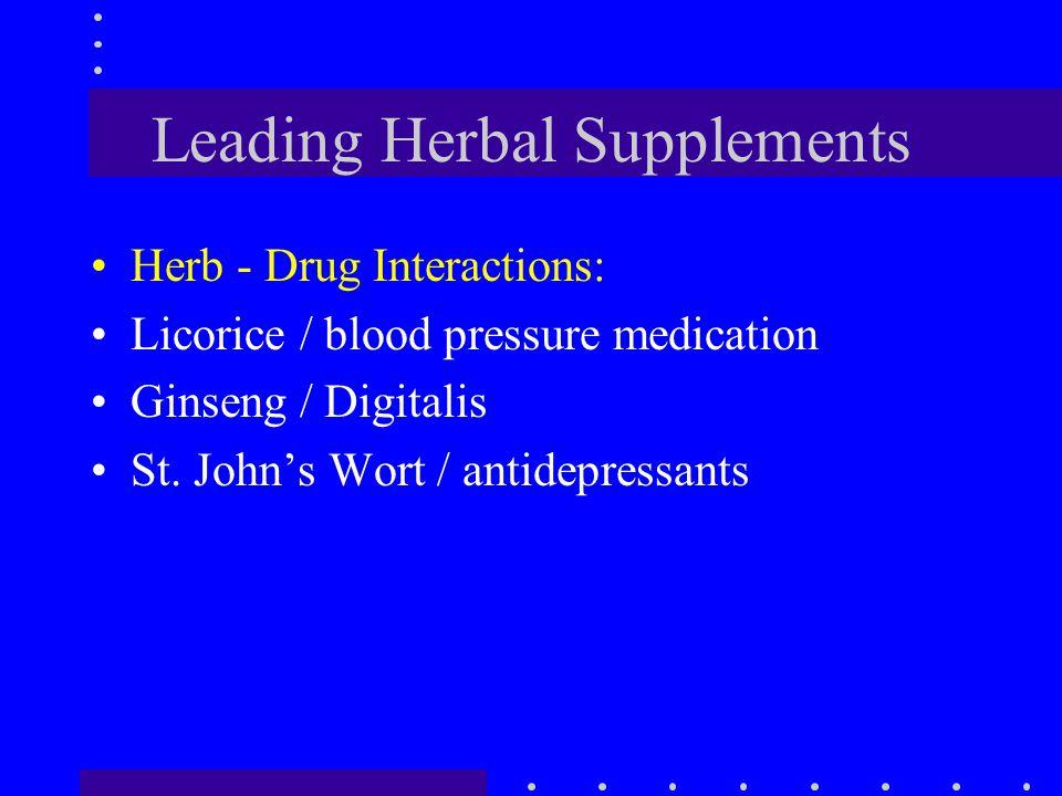 Leading Herbal Supplements Herb - Drug Interactions: Licorice / blood pressure medication Ginseng / Digitalis St. John's Wort / antidepressants