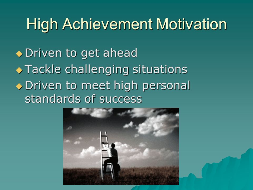 High Achievement Motivation  Driven to get ahead  Tackle challenging situations  Driven to meet high personal standards of success