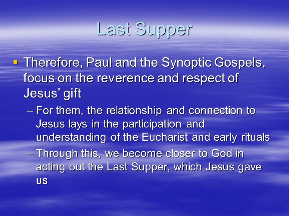 Last Supper  Read Luke 22: 14-20 –In line 16, Jesus clearly states to his apostles that this will be the last time they share a meal, but more importantly, the last time they will be all together –In line 19, Jesus states that the apostles and followers are to do this in remembrance of Jesus
