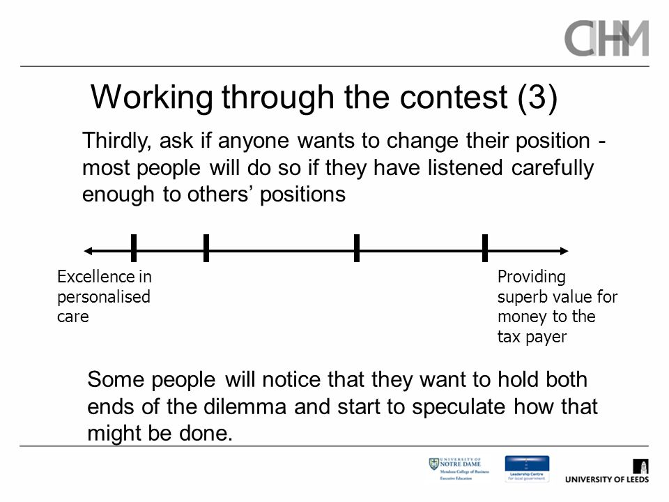 Working through the contest (3) Thirdly, ask if anyone wants to change their position - most people will do so if they have listened carefully enough