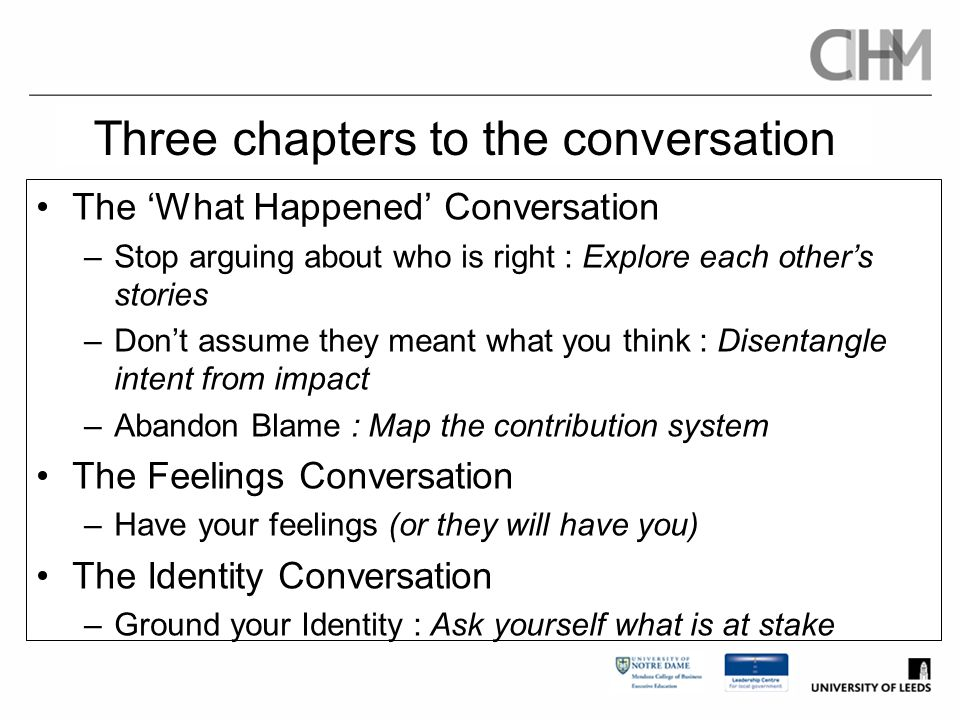 Three chapters to the conversation The 'What Happened' Conversation –Stop arguing about who is right : Explore each other's stories –Don't assume they
