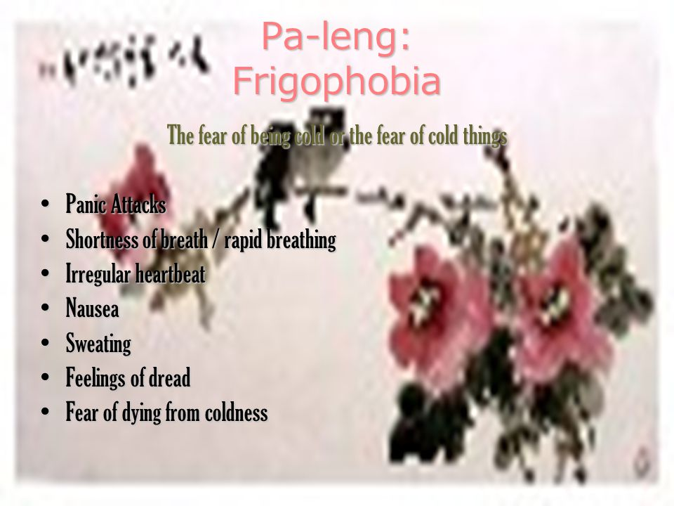 Pa-leng: Frigophobia The fear of being cold or the fear of cold things Panic AttacksPanic Attacks Shortness of breath / rapid breathingShortness of breath / rapid breathing Irregular heartbeatIrregular heartbeat NauseaNausea SweatingSweating Feelings of dreadFeelings of dread Fear of dying from coldnessFear of dying from coldness