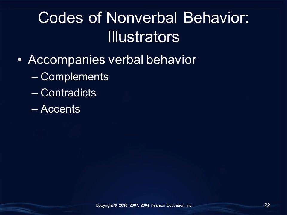 Copyright © 2010, 2007, 2004 Pearson Education, Inc Codes of Nonverbal Behavior: Illustrators Accompanies verbal behavior –Complements –Contradicts –Accents 22