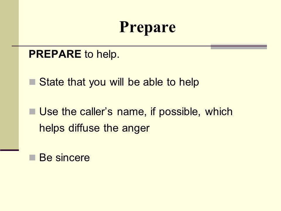 Prepare PREPARE to help.