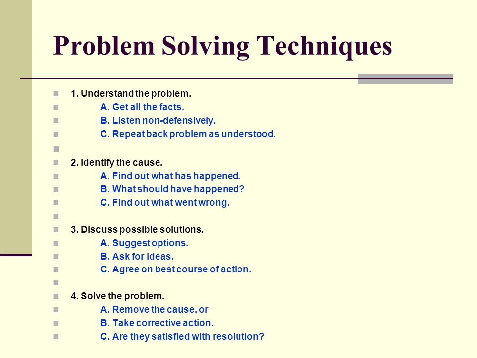 Problem Solving Techniques 1. Understand the problem.