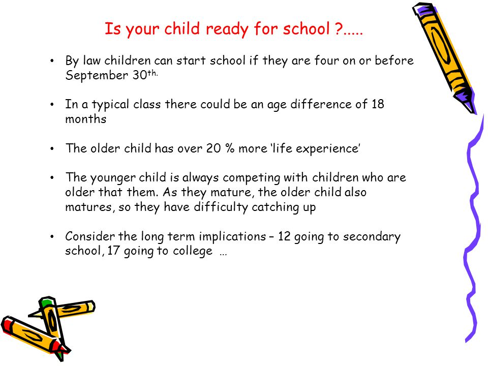 Is your child ready for school ?.....