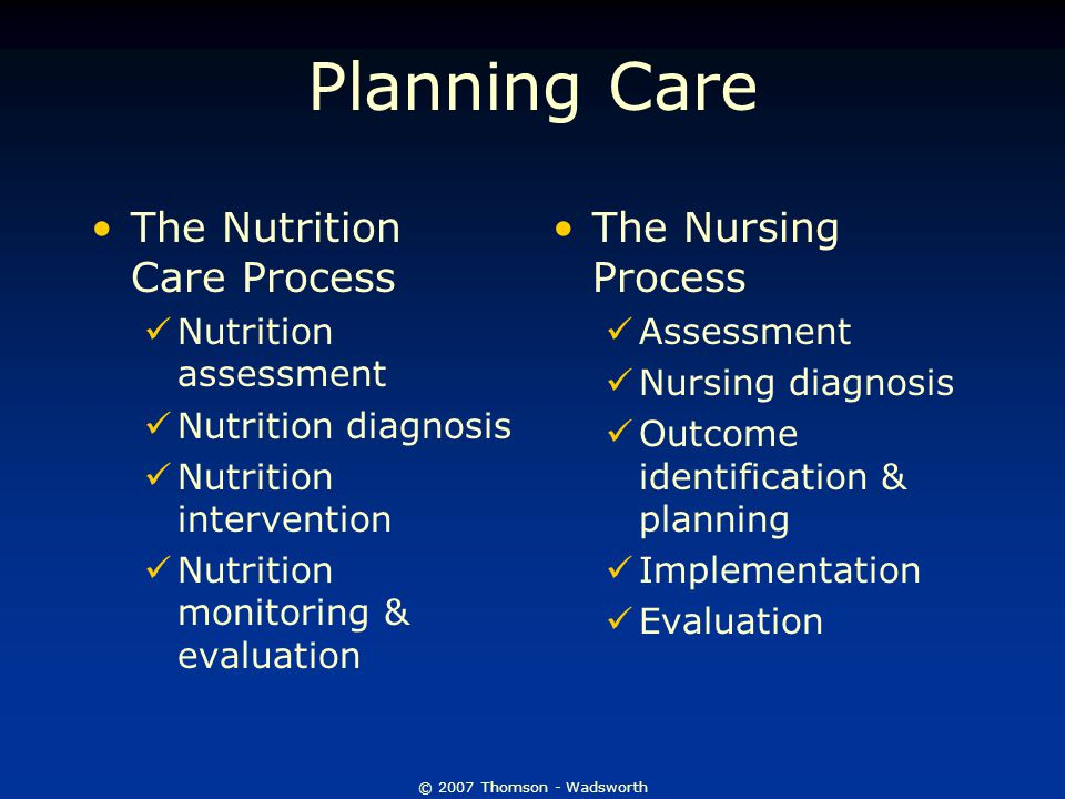 © 2007 Thomson - Wadsworth Planning Care The Nutrition Care Process Nutrition assessment Nutrition diagnosis Nutrition intervention Nutrition monitoring & evaluation The Nursing Process Assessment Nursing diagnosis Outcome identification & planning Implementation Evaluation