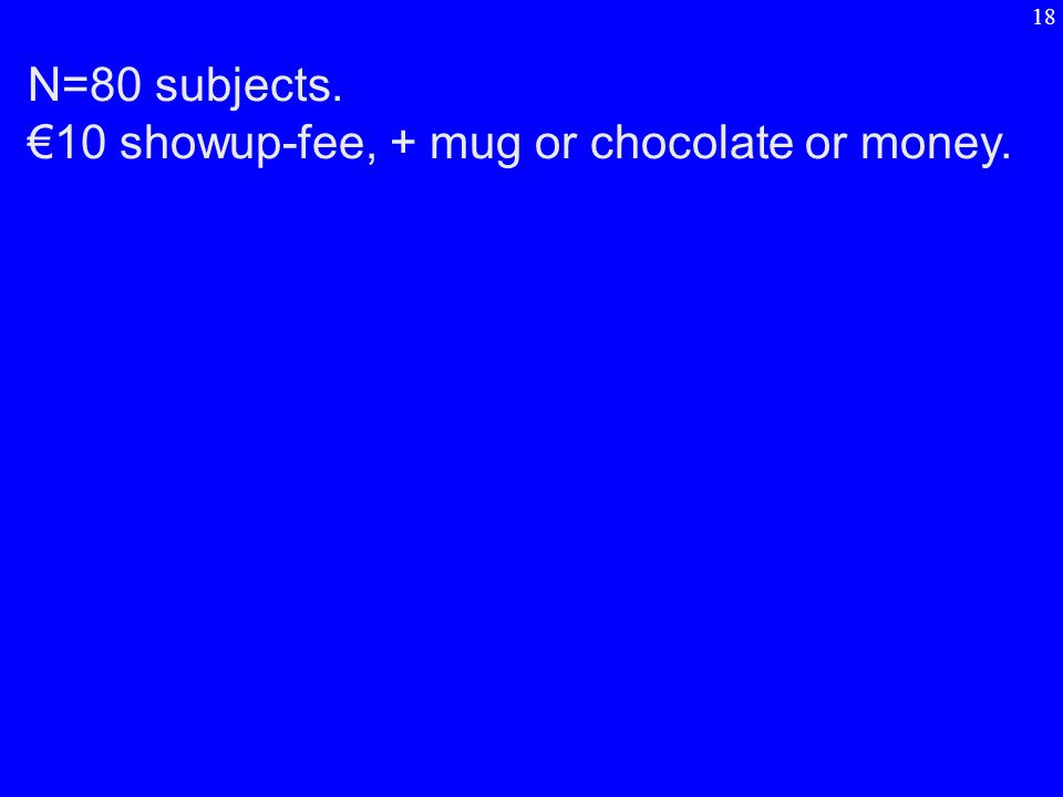 N=80 subjects. €10 showup-fee, + mug or chocolate or money. 18
