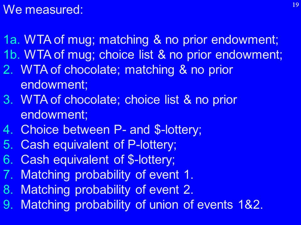 We measured: 1a. WTA of mug; matching & no prior endowment; 1b.