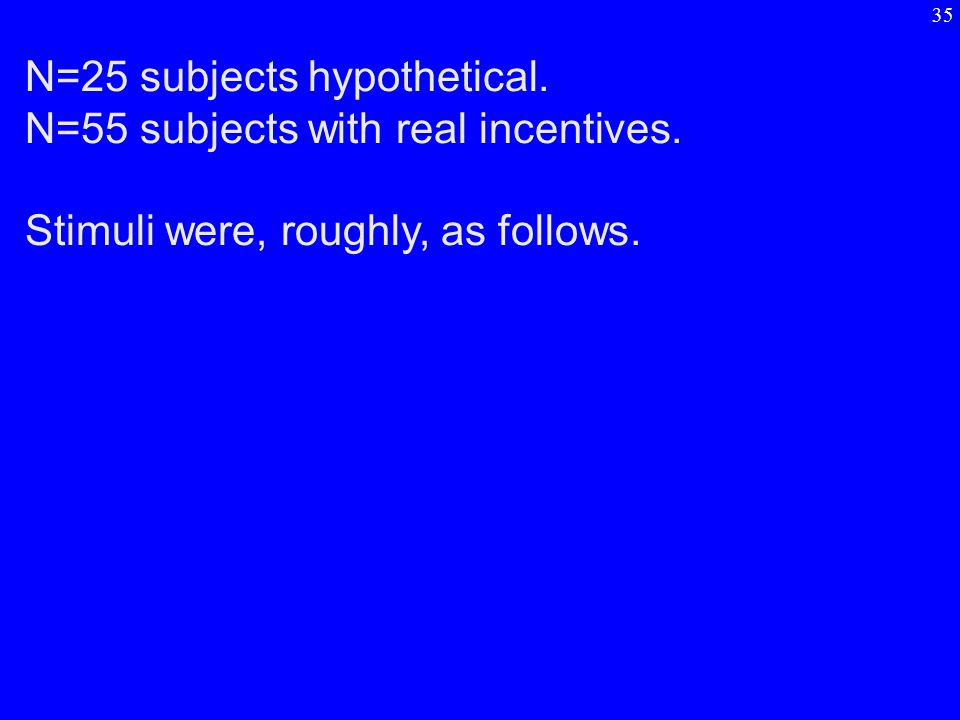 N=25 subjects hypothetical. N=55 subjects with real incentives. Stimuli were, roughly, as follows. 35