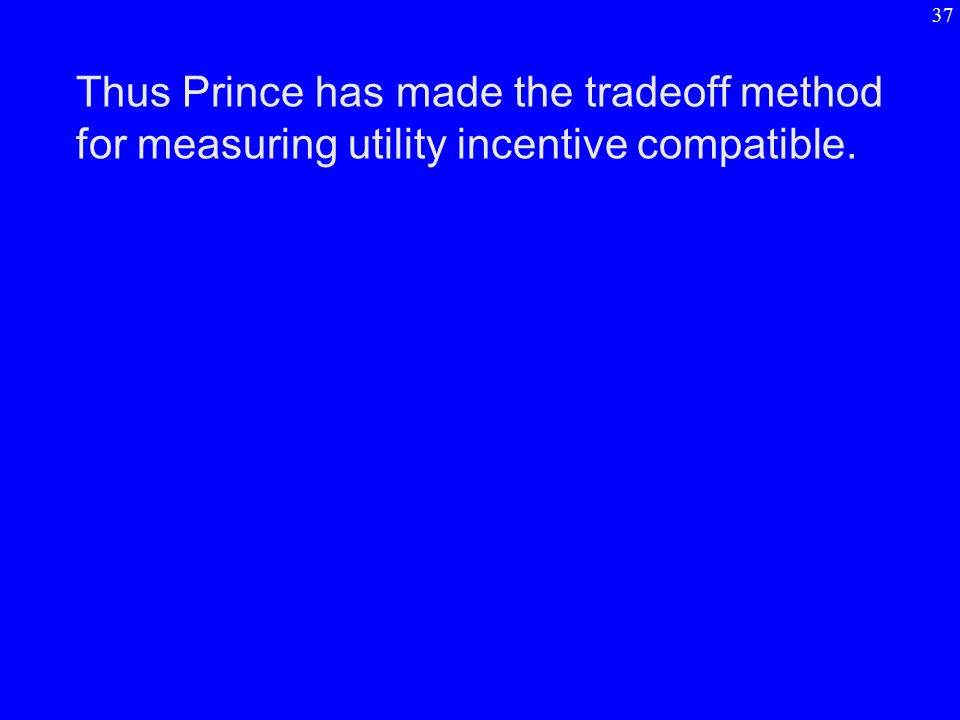 Thus Prince has made the tradeoff method for measuring utility incentive compatible. 37
