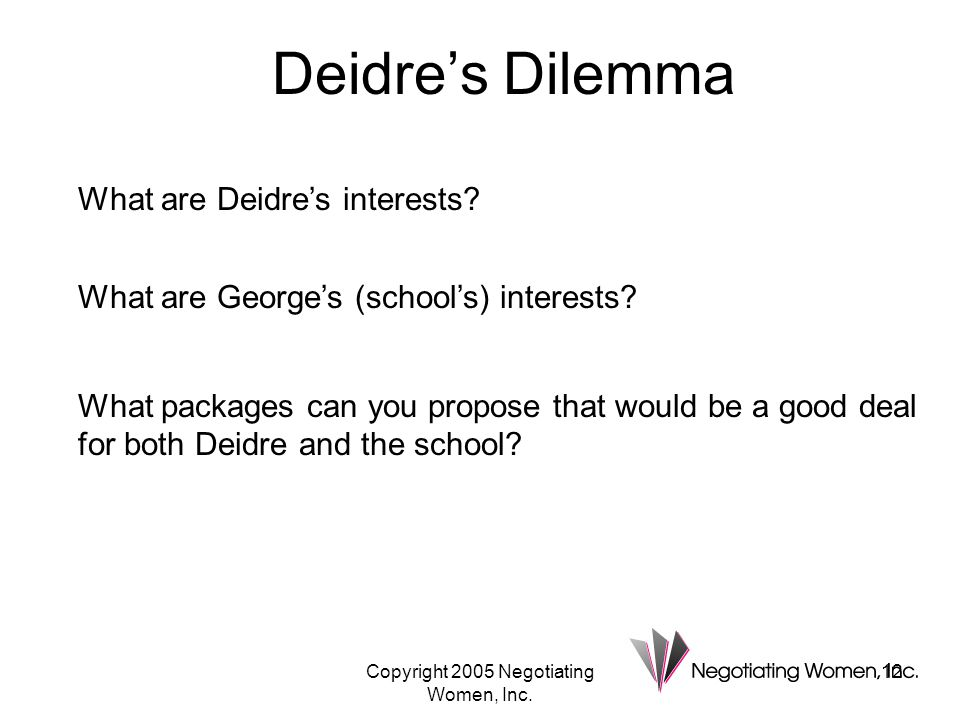 Copyright 2005 Negotiating Women, Inc.12 Deidre's Dilemma What are Deidre's interests.