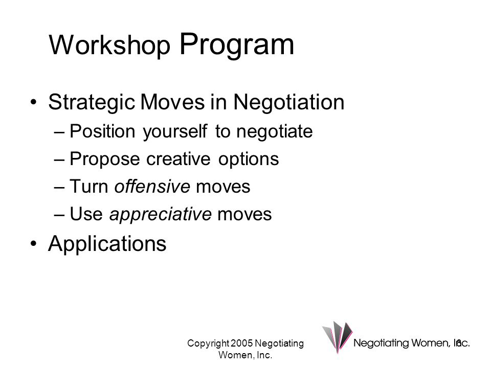 Copyright 2005 Negotiating Women, Inc.