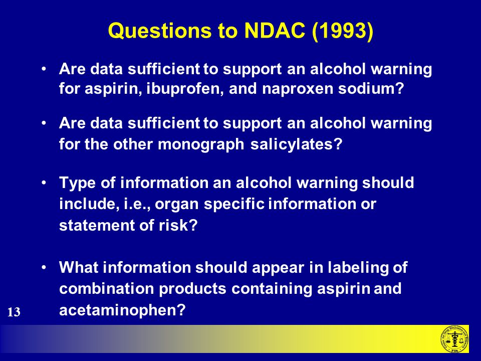 Questions to NDAC (1993) Are data sufficient to support an alcohol warning for aspirin, ibuprofen, and naproxen sodium.