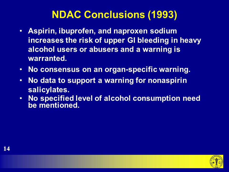 NDAC Conclusions (1993) Aspirin, ibuprofen, and naproxen sodium increases the risk of upper GI bleeding in heavy alcohol users or abusers and a warning is warranted.
