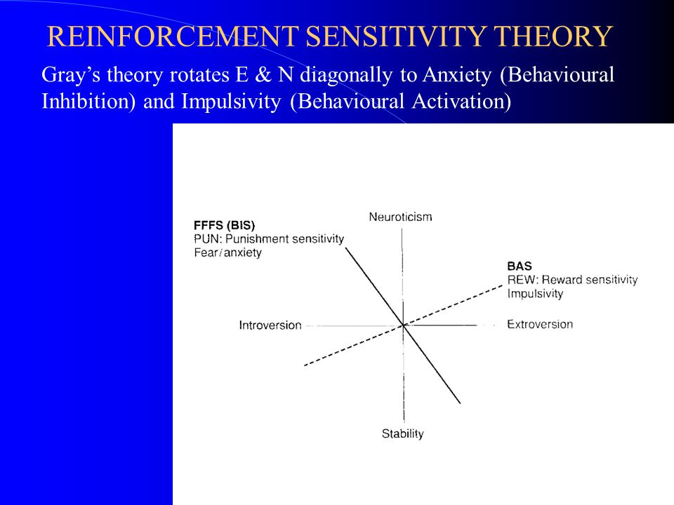 REINFORCEMENT SENSITIVITY THEORY Gray's theory rotates E & N diagonally to Anxiety (Behavioural Inhibition) and Impulsivity (Behavioural Activation)