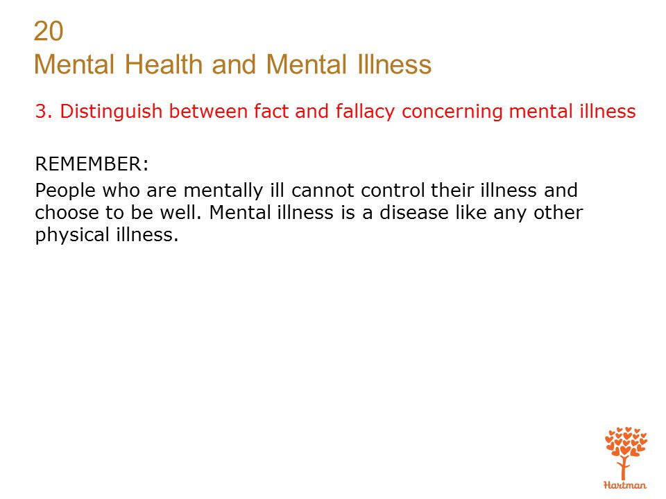 20 Mental Health and Mental Illness 3.