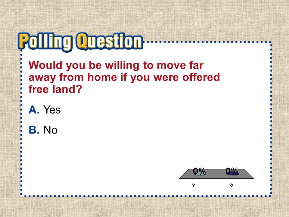 A.A B.B Section 2-Polling Question Would you be willing to move far away from home if you were offered free land.