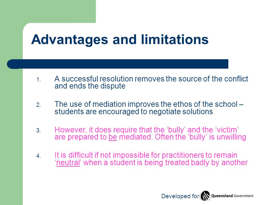 Advantages and limitations 1.