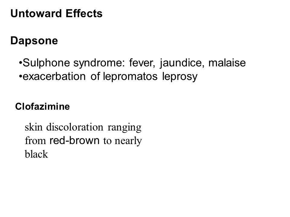 Sulphone syndrome: fever, jaundice, malaise exacerbation of lepromatos leprosy Untoward Effects Dapsone Clofazimine skin discoloration ranging from re