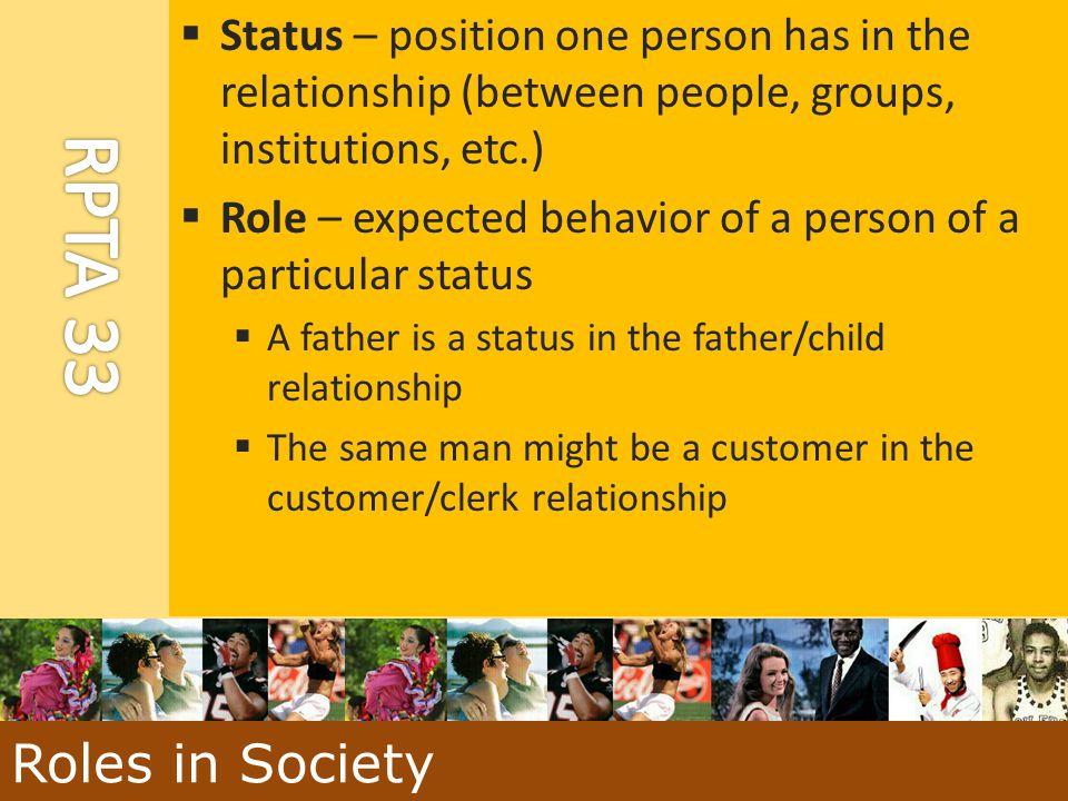  Status – position one person has in the relationship (between people, groups, institutions, etc.)  Role – expected behavior of a person of a partic