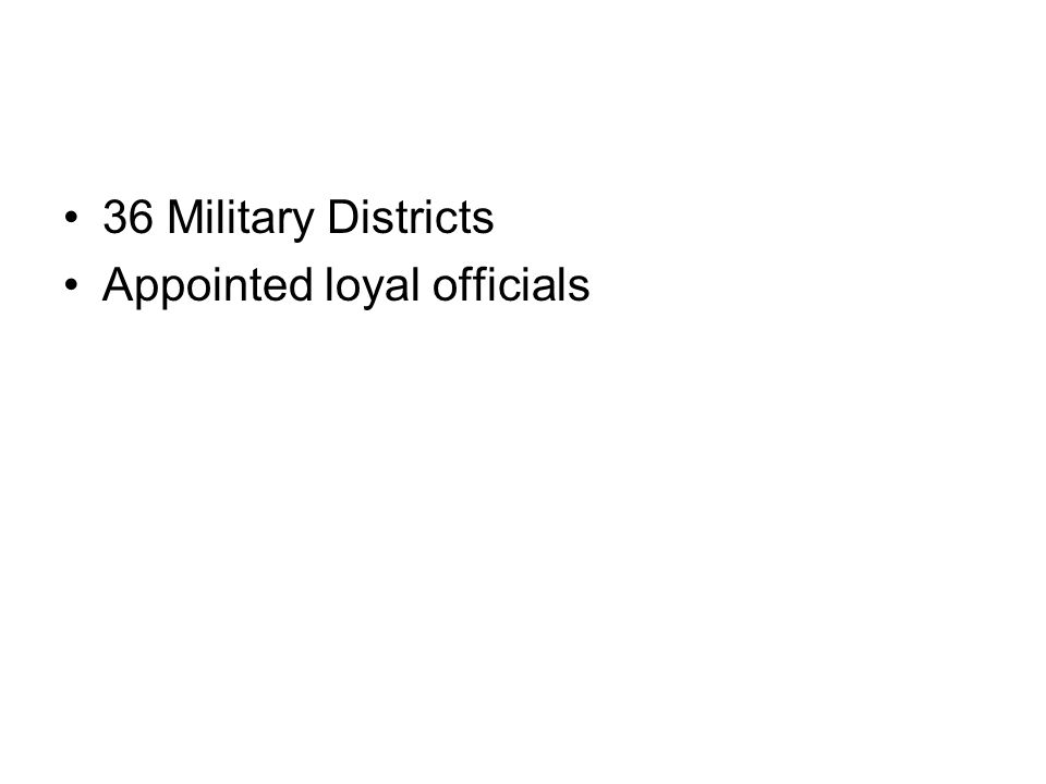 36 Military Districts Appointed loyal officials
