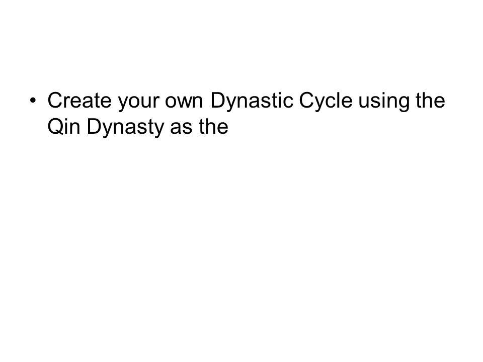 Create your own Dynastic Cycle using the Qin Dynasty as the