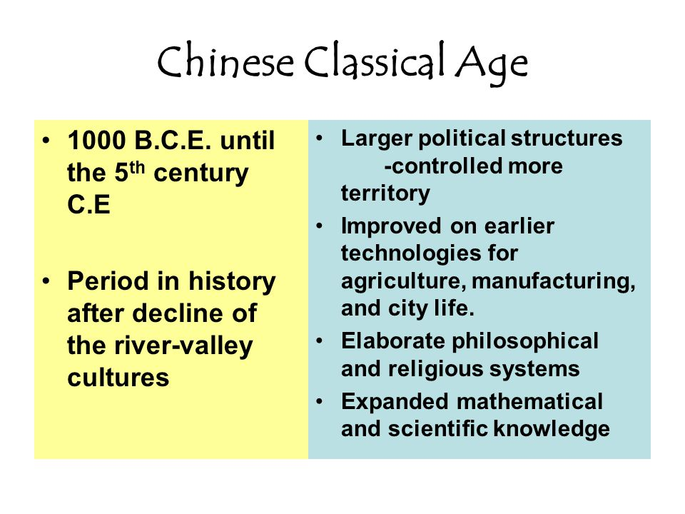 Chinese Classical Age 1000 B.C.E.