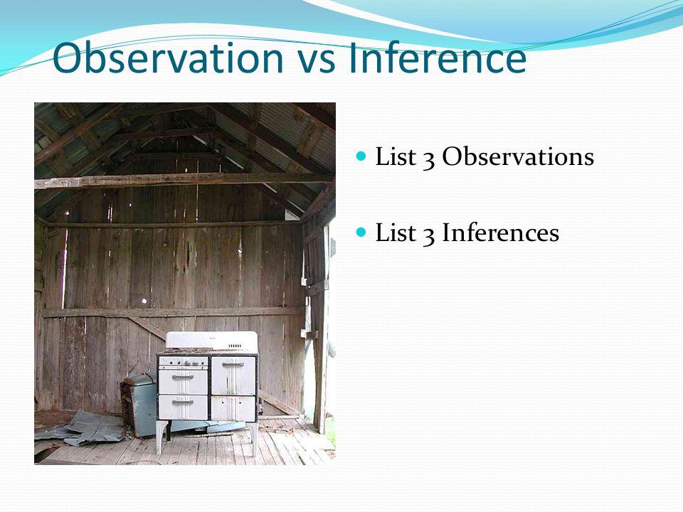 Observation vs Inference List 3 Observations List 3 Inferences