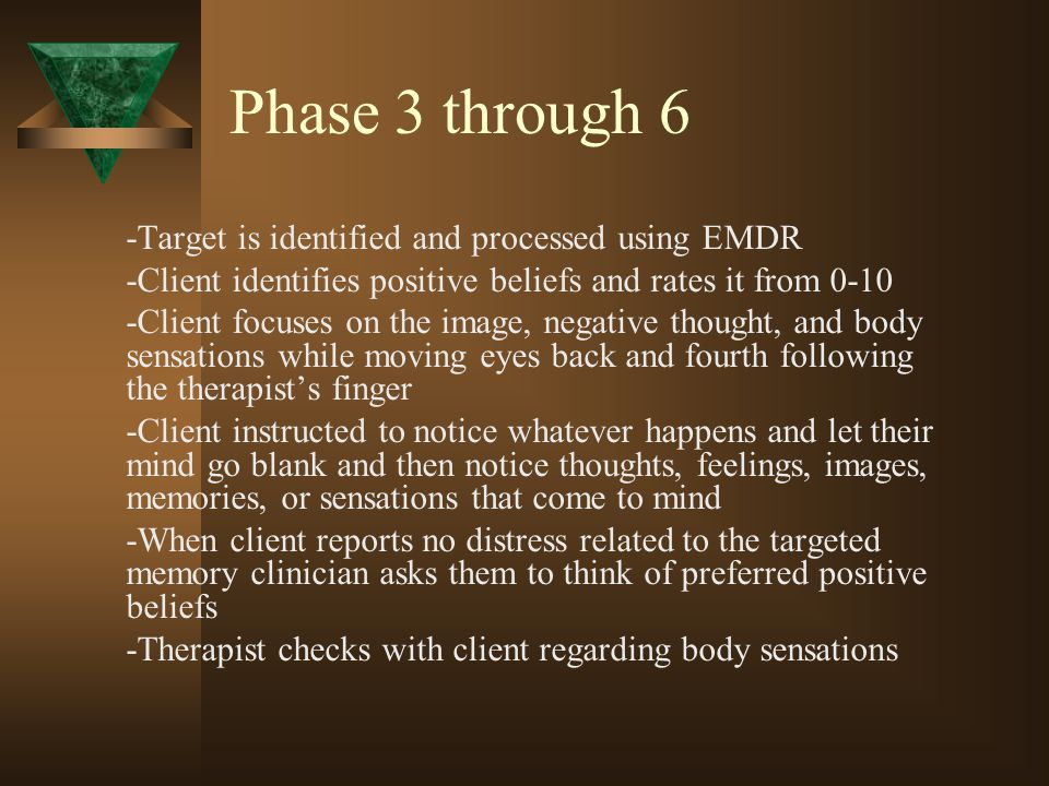 Phase 3 through 6 -Target is identified and processed using EMDR -Client identifies positive beliefs and rates it from 0-10 -Client focuses on the ima