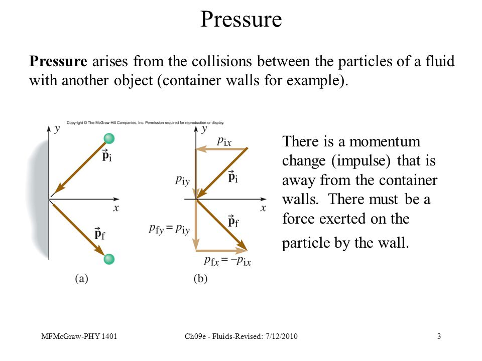 MFMcGraw-PHY 1401Ch09e - Fluids-Revised: 7/12/20103 Pressure Pressure arises from the collisions between the particles of a fluid with another object (container walls for example).