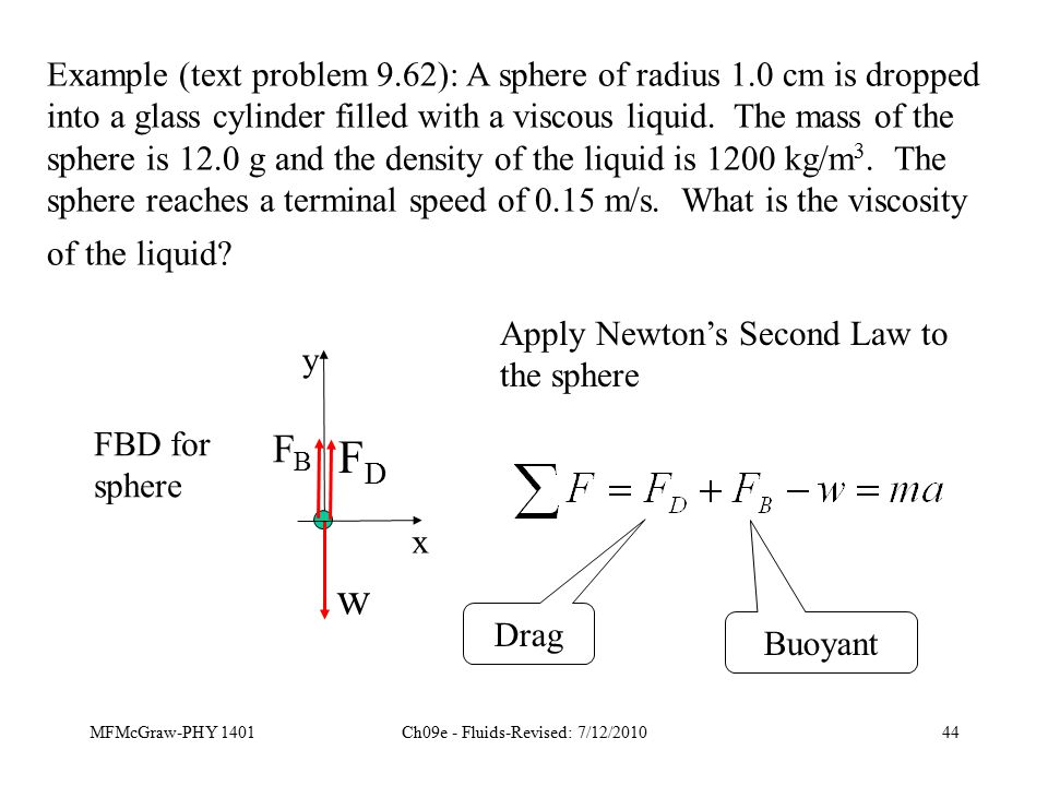 MFMcGraw-PHY 1401Ch09e - Fluids-Revised: 7/12/201044 Example (text problem 9.62): A sphere of radius 1.0 cm is dropped into a glass cylinder filled with a viscous liquid.