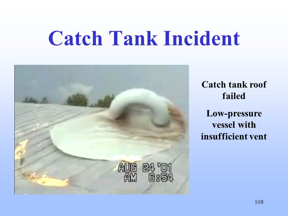 108 Catch Tank Incident Catch tank roof failed Low-pressure vessel with insufficient vent