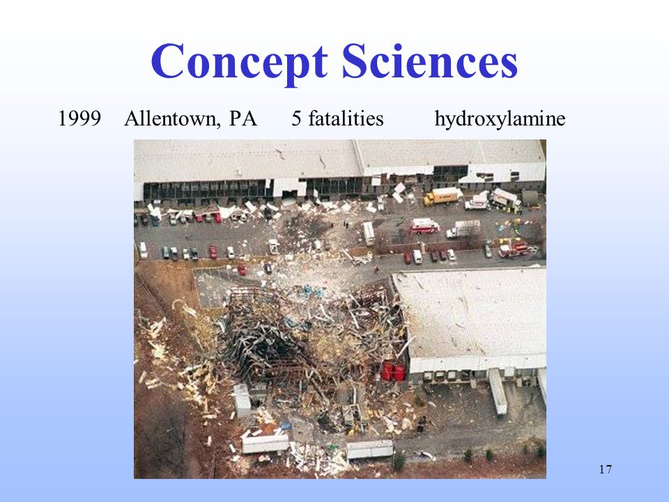 17 Concept Sciences 1999 Allentown, PA 5 fatalities hydroxylamine