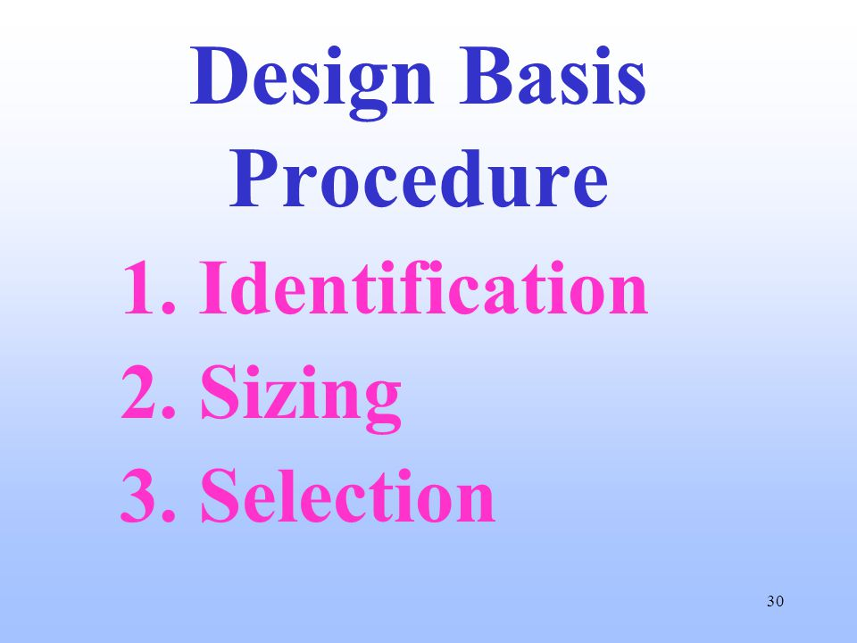 30 Design Basis Procedure 1. Identification 2. Sizing 3. Selection