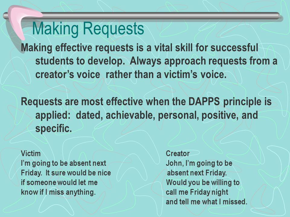 Making Requests Making effective requests is a vital skill for successful students to develop.