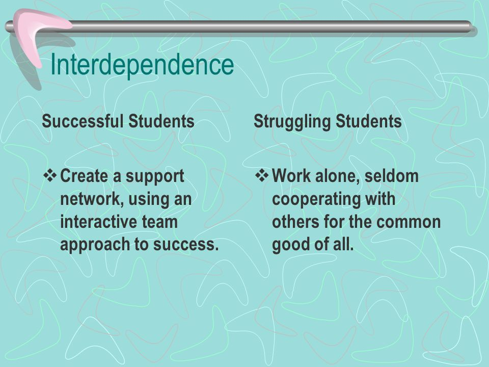 Interdependence Successful Students  Create a support network, using an interactive team approach to success.