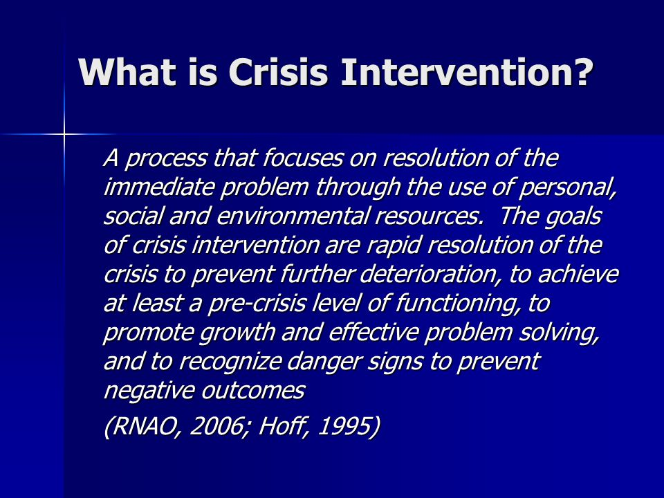 What is Crisis Intervention.