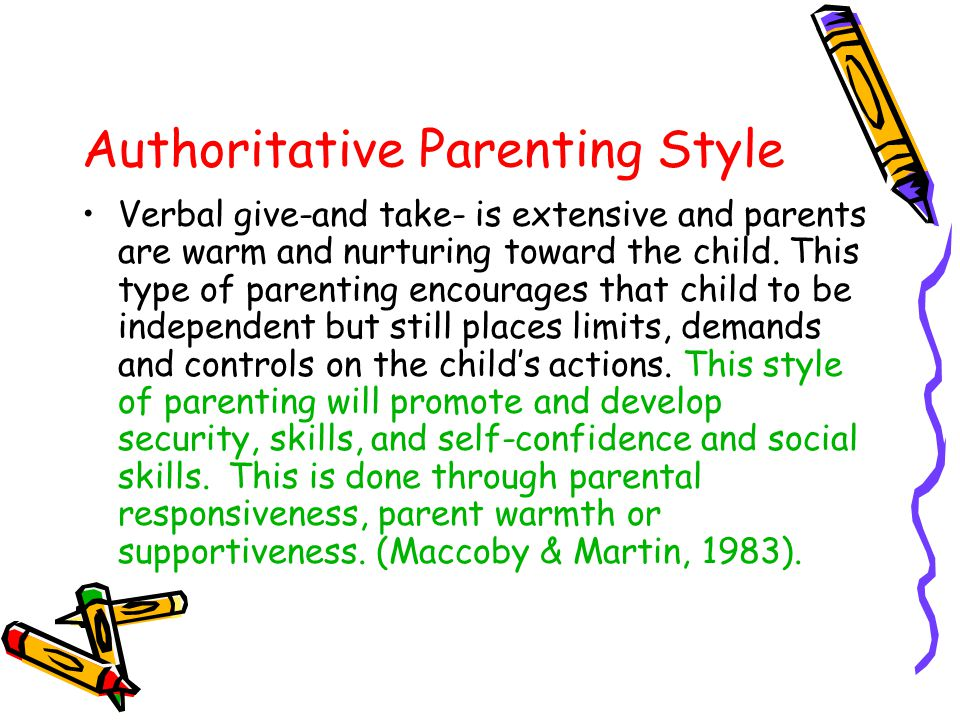 Authoritarian Parenting Style Parents are restrictive, punitive, exhort the child to follow their directions, respect work and effort, place limits and controls on the child and offer little verbal give-and-take between the child and themselves.