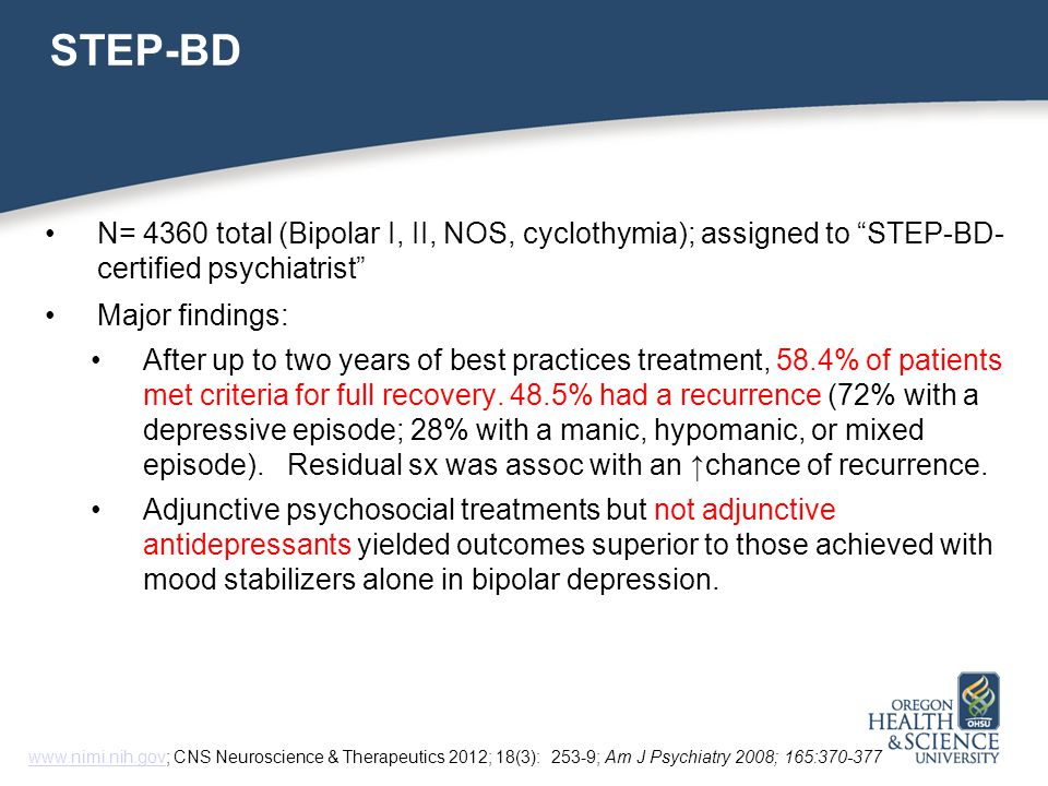 STEP-BD N= 4360 total (Bipolar I, II, NOS, cyclothymia); assigned to STEP-BD- certified psychiatrist Major findings: After up to two years of best practices treatment, 58.4% of patients met criteria for full recovery.