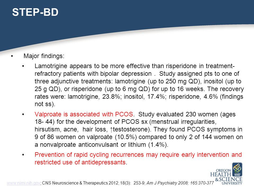 STEP-BD Major findings: Lamotrigine appears to be more effective than risperidone in treatment- refractory patients with bipolar depression.