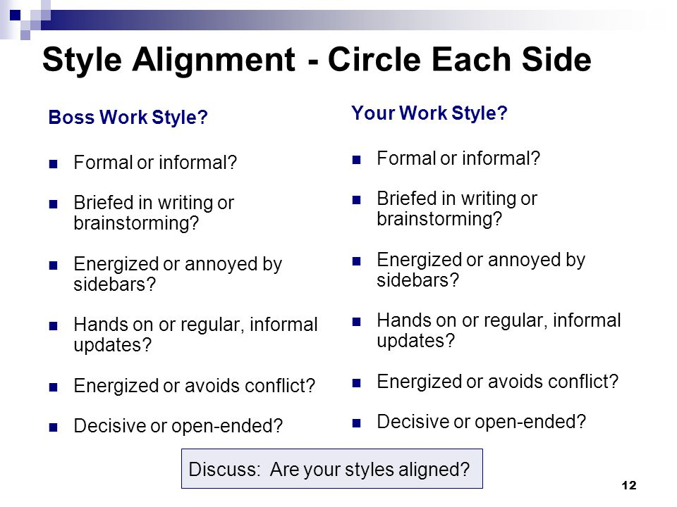 12 Style Alignment - Circle Each Side Boss Work Style.