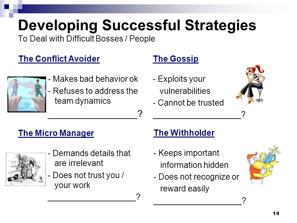 14 Developing Successful Strategies To Deal with Difficult Bosses / People The Conflict Avoider - Makes bad behavior ok - Refuses to address the team dynamics _________________.