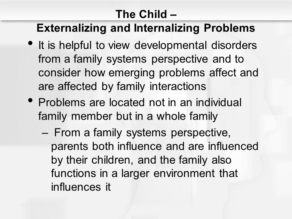 The Child – Externalizing and Internalizing Problems It is helpful to view developmental disorders from a family systems perspective and to consider h