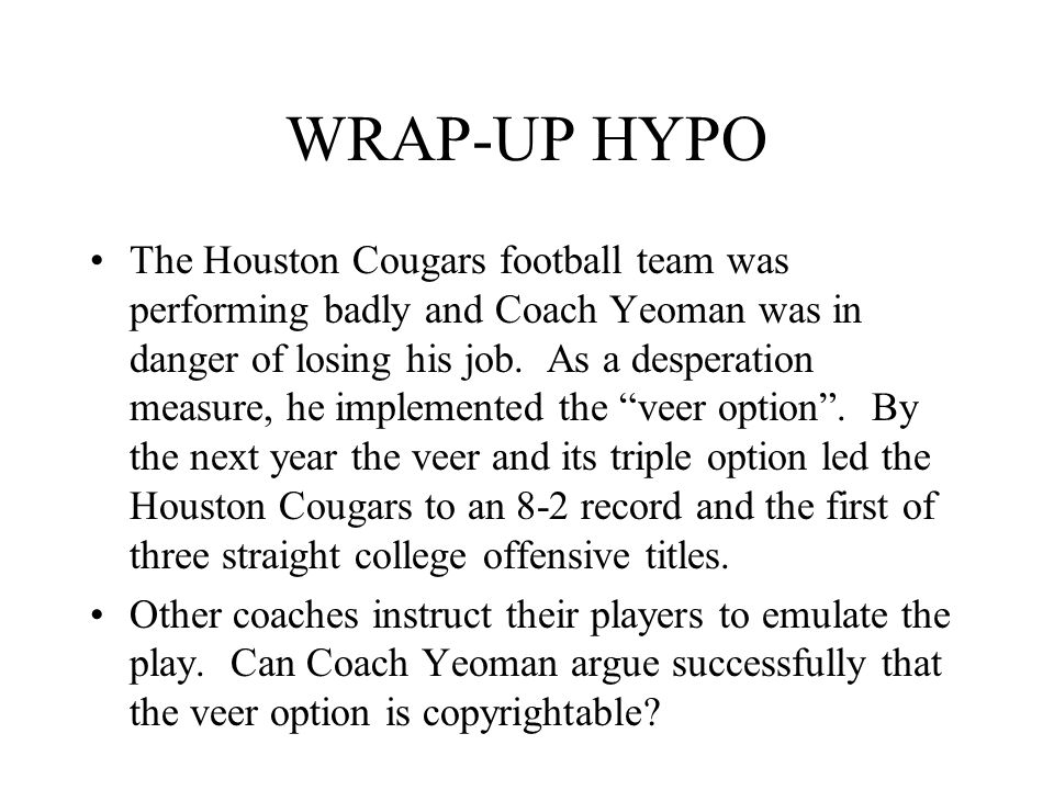 WRAP-UP HYPO The Houston Cougars football team was performing badly and Coach Yeoman was in danger of losing his job.